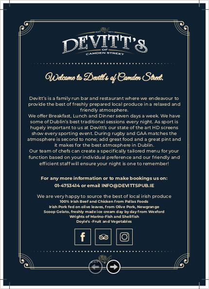 Devitt's menu thumbnail image